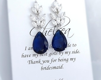 Dark Blue Earrings, Navy Earrings, Navy Crystal Earrings, Dark Sapphire Earrings, Bridesmaid Earrings, Bridesmaid Gift, Wedding Earrings