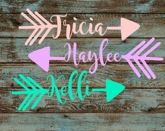 Arrow Name Decal~Custom Sticker~Custom Name Decal~Name Yeti Decal~Arrow Car Decal~Yeti Rambler~Corkcicle Canteen/Tumbler