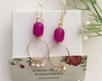 Pink Earrings with freshwater pearls