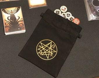 Fan Made Premium Chaos Token Bag - Arkham Horror LCG Compatible - Necronomicon Embroidered Design (Black & Gold) - 100% Unofficial