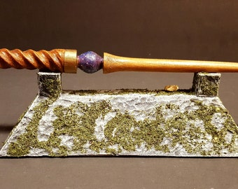 Faux stone wood moss covered wand display