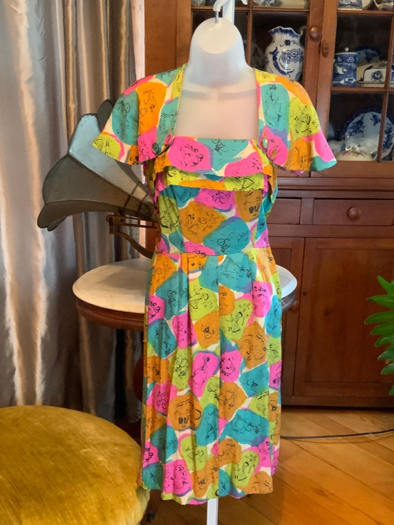 Mid century vintage cape dress