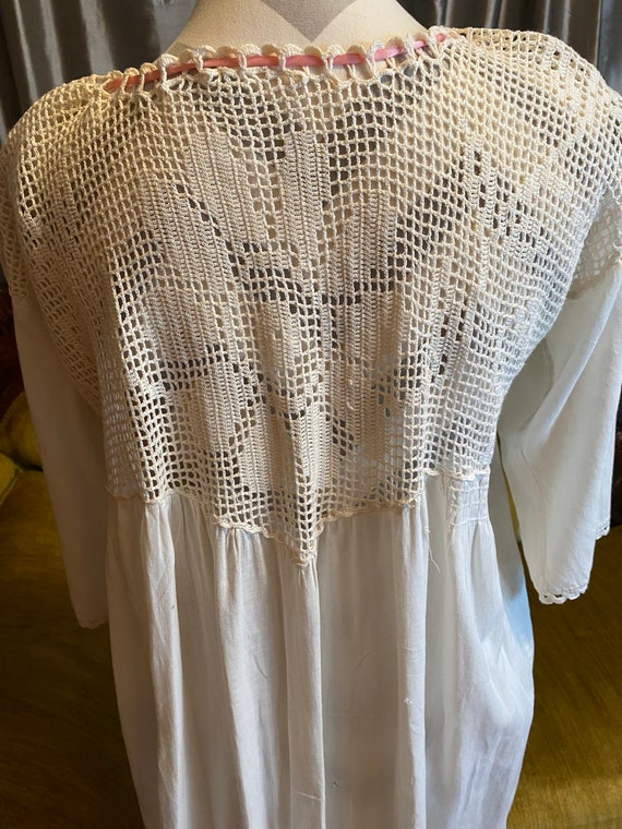 antique Edwardian handmade nightgown with crochete