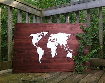 Large world map wood etsy world map painting on wood gumiabroncs Choice Image