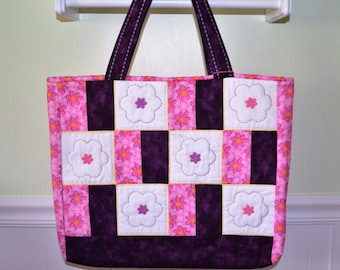 Pink and Purple Flower Tote Bag