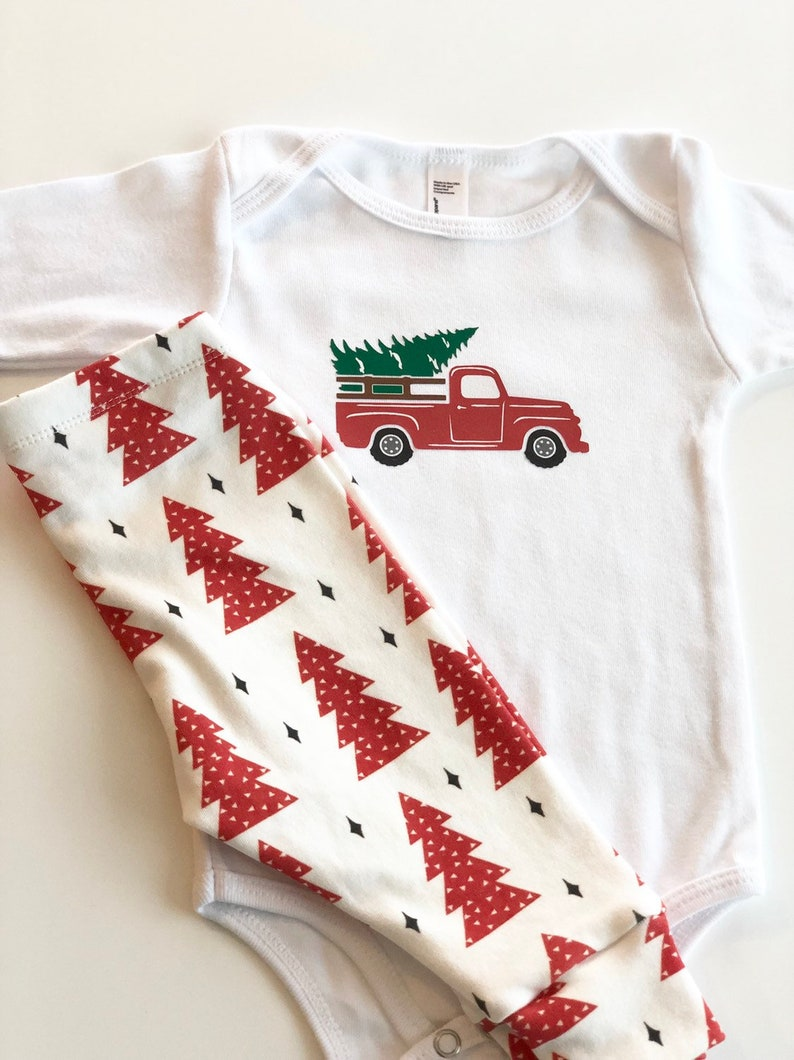 First Christmas Outfit Baby Set Christmas Red Trees Baby Pants Baby Leggings Christmas Pajamas Christmas Tradition Red Truck Red
