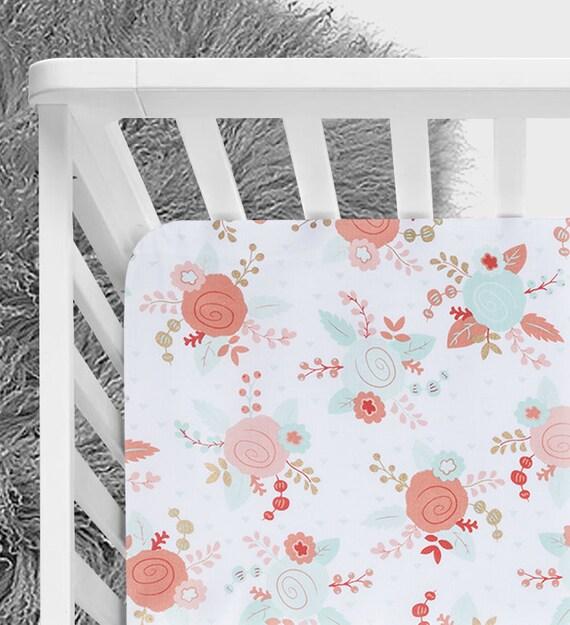 Menthe Et Designer Floral Corail Drap Housse Lit Mini Lit Bebe Drap