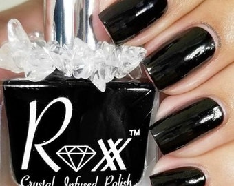 Black Tourmaline Crystal Infused Nail Polish-Protect Yourself. Toxic-Free, Cruelty Free, Metaphysical Beauty, Crystal Energy