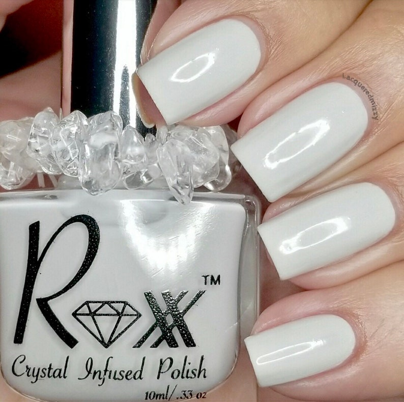 White Calcite Crystal Infused Nail Polish  Clear the Energy image 0