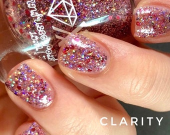 Clear Quartz - Crystal Infused Nail Polish- Find  Clarity. Toxic-Free, Cruelty Free, Metaphysical Beauty, Crystal Energy, Crystal Manicure