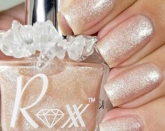 Moonstone And Rose Quartz Crystal Infused Nail Polish - Feminine Power - Toxic-Free, Cruelty Free, Metaphysical Manicure