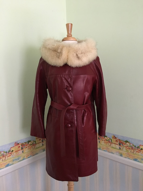 1960s Red Leather Trench Statement Coat with white