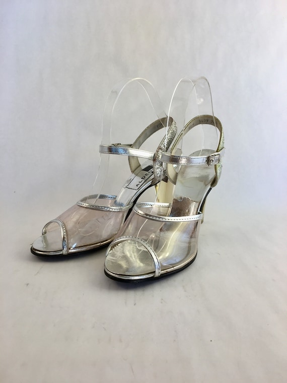 1970s Silver Aldens strappy dancing shoes