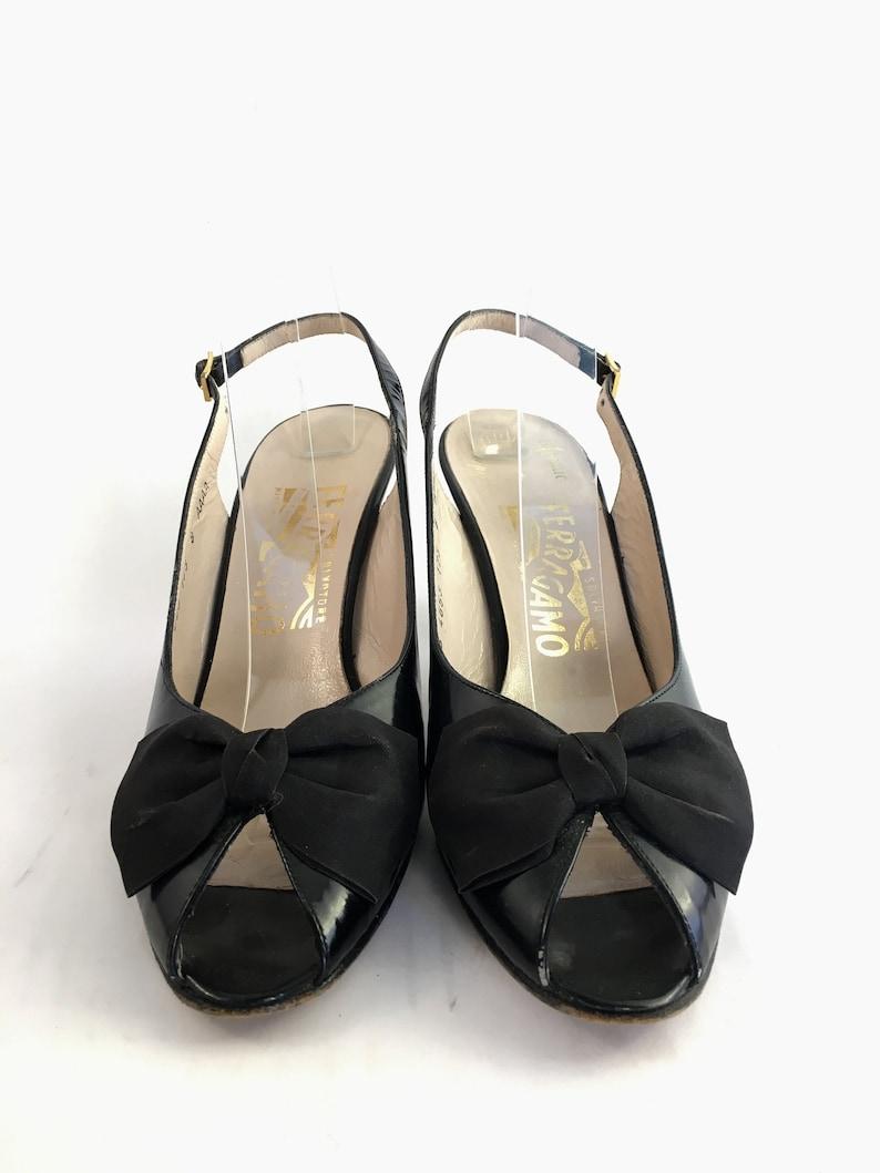 02eb21f06cdb7 Black leather bow peep toes slingback Ferragamo heels