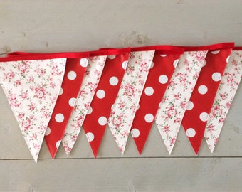 Oilcloth bunting red /pink