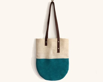 suede jute tote bag, holiday tote bag o work tote bag, women leather shoulder bag, handmade handbags gifts for her accessories made in italy