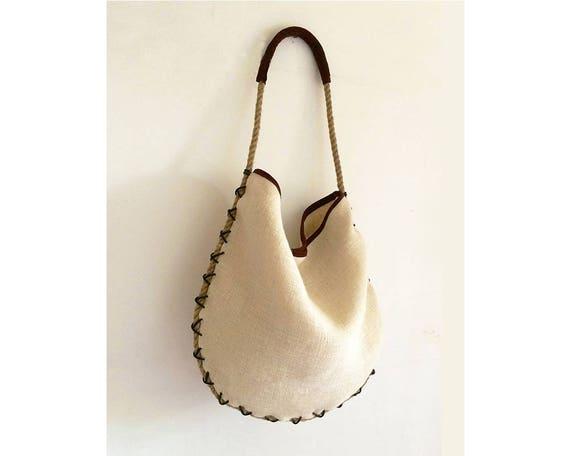 Jute Shopping Bag for Women with Leather Trim Burlap Womens Sling Tote Handbag