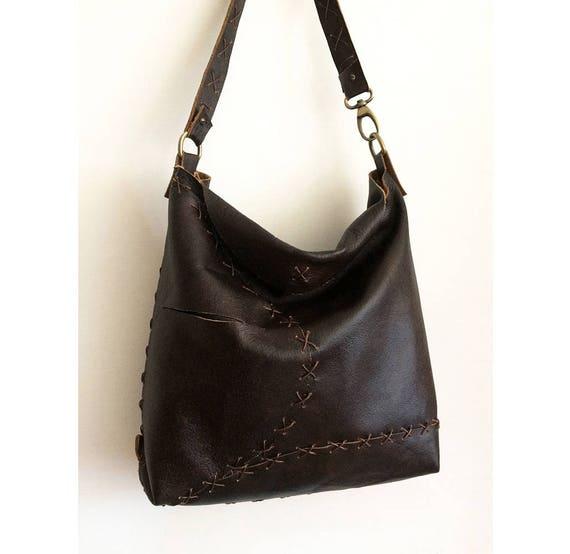 e71c7fc1c48f Brown hobo bag crossbody bag leather bag hand-sewn leather