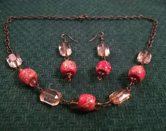 Ember Glow Necklace and Earrings Set