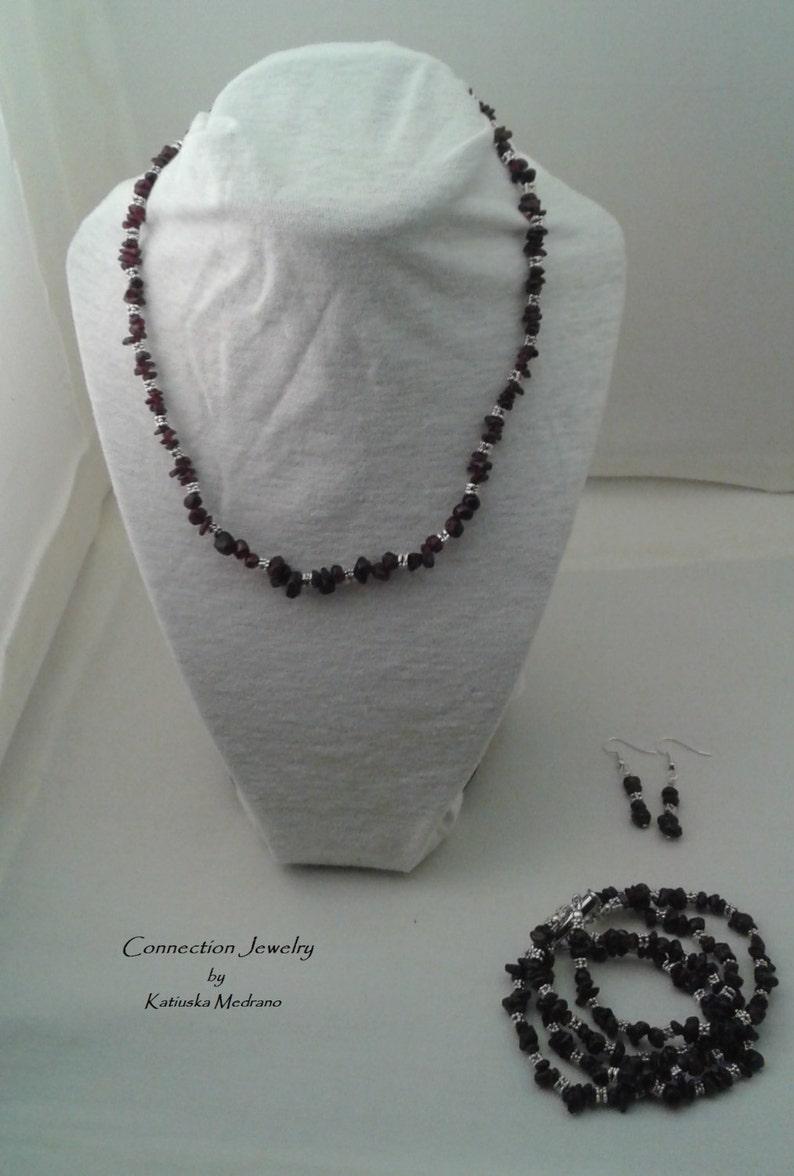 823a00809ce5 Granum Set de joyas Piedra Granate Piedra de enero Regalo