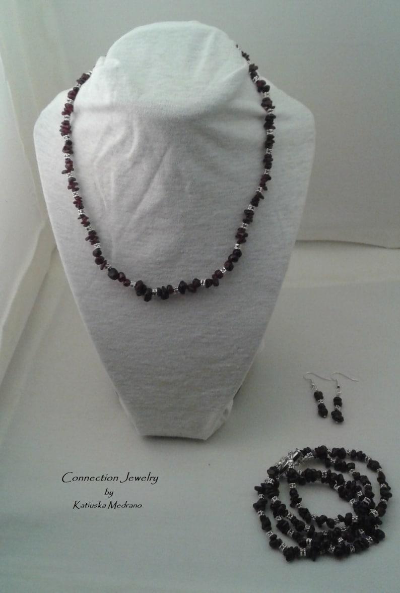 e30f5f4cda2a Granum Set de joyas Piedra Granate Piedra de enero Regalo