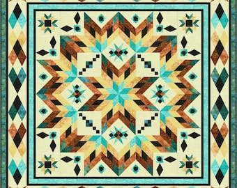 """BACK in STOCK! Taos Quilt Kit with Fabric Only by Whirligig Designs and Fabric by Island Batik 102"""" x 102"""" *Free USA Shipping*"""