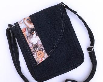 Denim messenger bag with cats