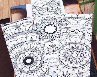 Set of 3 Printable Mandala Bookmarks, perfect for coloring