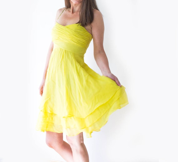Bright Yellow Cocktail Dress, Yellow Chiffon Dress