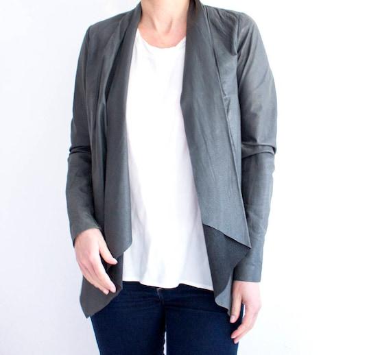 Waterfall Leather Jacket, Vintage Frill Leather Ja