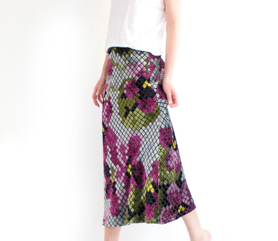 Vintage Moschino Maxi Skirt, Floral Velvet Cheap a
