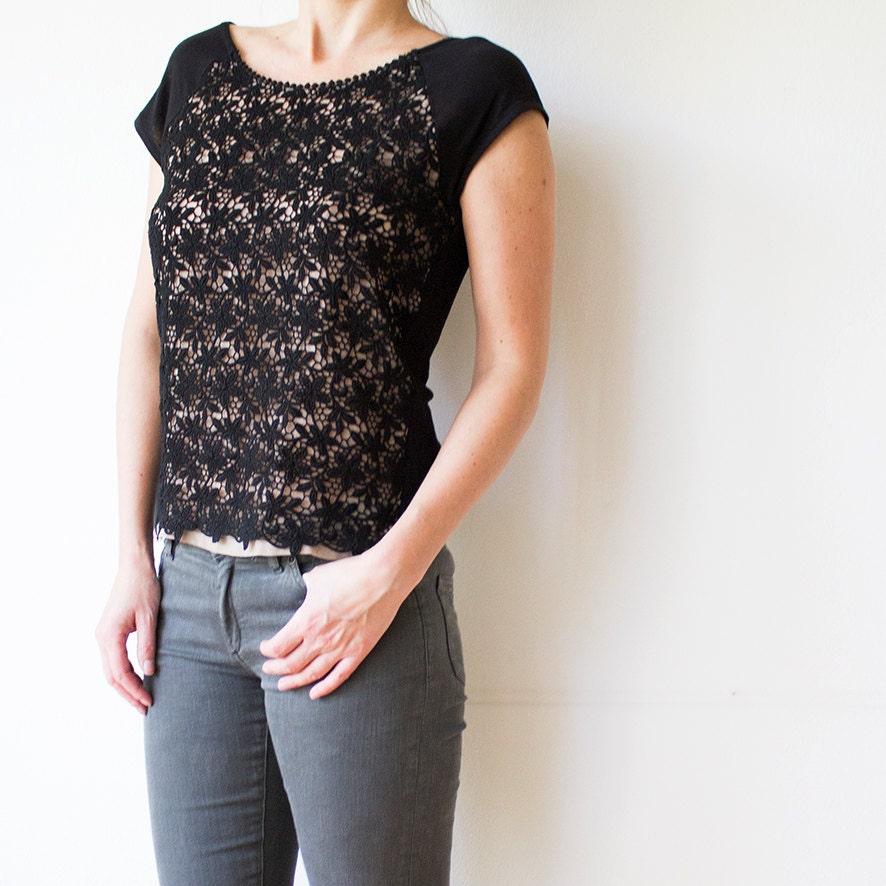 4131c5cf78b92d Vintage Crochet T-Shirt Black Nude Floral Lace T-shirt | Etsy