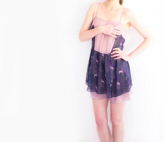 Cute Chiffon Slip Dress, Powder Pink Violet dress,