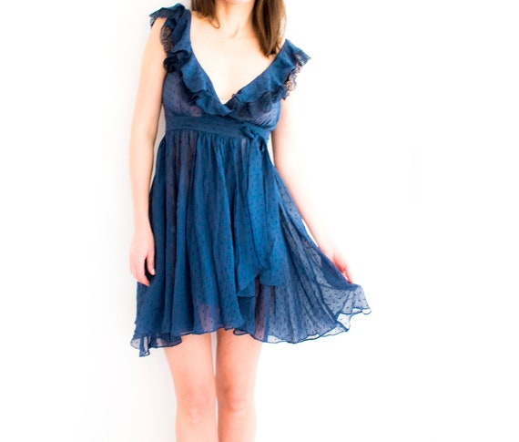 Cute Babydoll Dress, Ruffle Chiffon wrap dress, Vi
