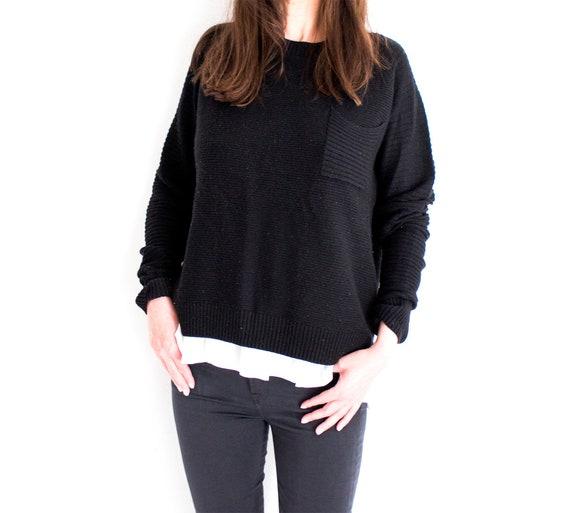 Vintage Cashmere Jumper, Black Cashmere Knit, Blac