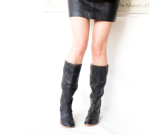 Vintage Style Leather Boots, Black Leather Boots,