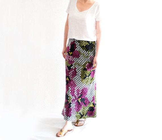Vintage Moschino Maxi Skirt, Floral Velvet Cheap a