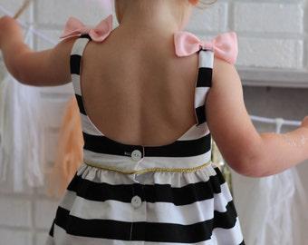The Audrey Dress - Black and white Stripe dress - bow back - low back dress - toddler dress - christmas dress girls dresses Lottie Clothing