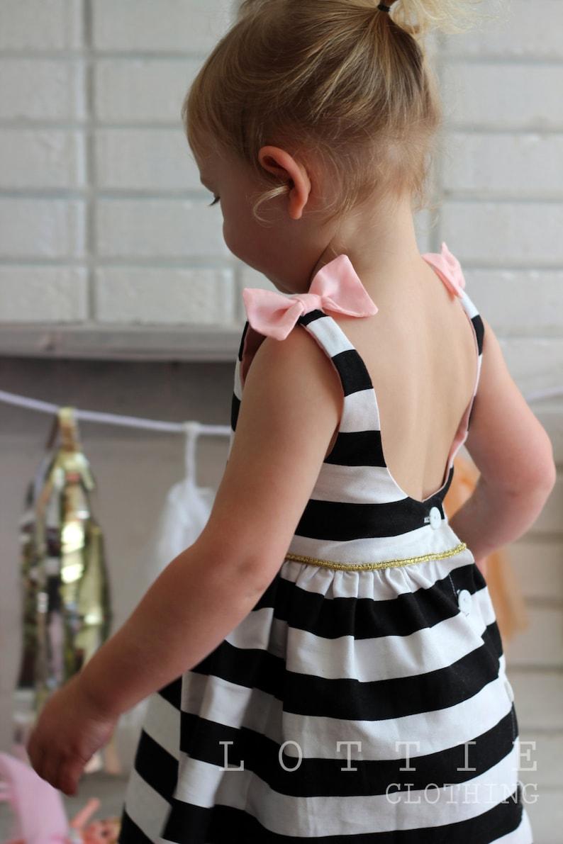 bow back Black and white Stripe dress The Audrey Dress low back dress christmas dress girls dresses Lottie Clothing toddler dress