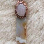 Copper Electroformed Pendant, Crystal Pendant, Agate and Rose Quartz Copper Necklace, Crystal Jewelry, Copper Necklace, Raw Copper