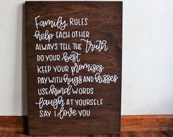 Wood Family Sign - Family Rules - Modern Farmhouse - Living Room Decor - 18 x 24 Inch Sign - Housewarming Gift - Family Wall Art