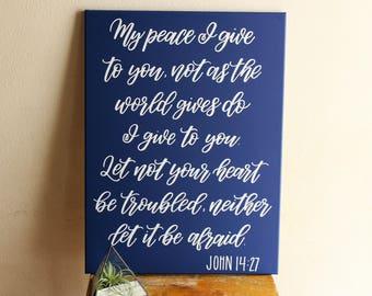 Scripture Canvas - Bible Verse Wall Art - Navy Blue - Peace Quote - Blue Decor - 18 x 24 Inch Canvas