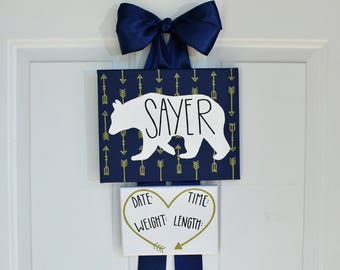 Newborn Stats Sign- Navy and Gold - Ribbon Hanger - Bears and Arrows - Hospital Door Hanger Sign