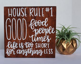 Wood Family Quote - Hand Lettered Wood Sign - Living Room Wall Art - Good Times - Good Food - Good People - Stained Wood