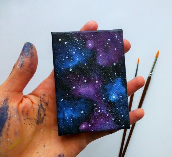 galaxy canvas mini painting fridge magnet magnet art etsy