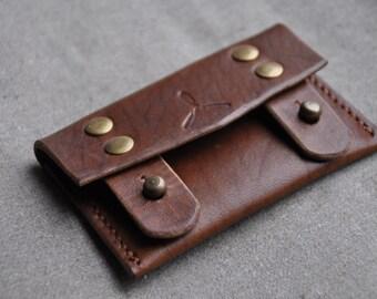 Full grain leather card holder