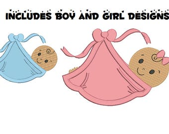 baby applique machine embroidery design file includes two styles - boy and girl each in three sizes all popular formats pes dst etc