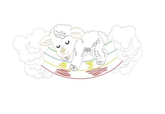 Cute Animal Sheep Lamb Sketch Line Drawing Embroidery Machine Etsy