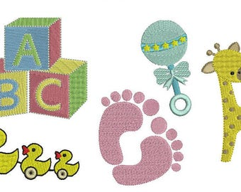Bargain bundle 5 part embroidery machine file design set baby items 4 sizes included giraffe, rattle, blocks, duck toy & footprints