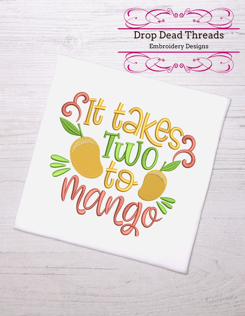 funny fruit /& vegetables puns It takes two to mango 3 sizes machine embroidery design dish towel tea towel reading pillow